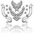 doodle us military insignia airforce modern vector image vector image