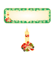 Banner Christmas Spruce with candle and pine cone vector image