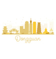 Dongguan City skyline golden silhouette vector image