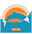 dolphin jumping in sea sign concept vector image vector image