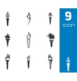 black torch icons set vector image vector image