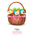 Holiday background with basket full of Easter eggs vector image