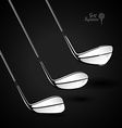 Golf sticks on the dark background as design vector image vector image