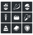 Set of Robin Hood Icons Archer Bow and vector image