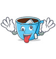 crazy tea cup mascot cartoon vector image