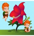 Red-haired cartoon boy and red flower closeup vector image