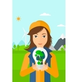 Woman with lightbulb and trees inside vector image