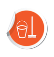 mop and busket ORANGE LABEL vector image vector image