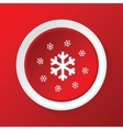 Snowflakes icon on red vector image