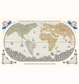 retro old globe with monsters and ships vector image