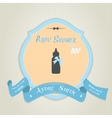 Baby shower invitation with baby milk bottle vector image