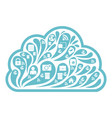 cloud social media white icon vector image
