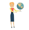 School Teacher with Earth Globe vector image