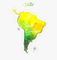 Travel around the world South America Watercolor vector image
