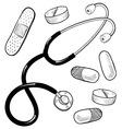 doodle doctor medical stethescope pills bandaid vector image