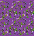 seamless pattern with realistic graphic flowers on vector image vector image