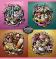 ice cream cartoon doodle set vector image