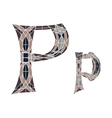 Low poly letter P in brown mosaic polygon vector image