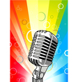 microphone with colorful rays background vector image vector image