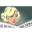 People in retro style Girl reading the newspaper vector image
