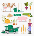farm worker animals and plants set vector image