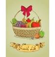 Fruit life gift basket with bow emblem vector image