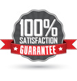 Satisfaction guarantee retro label with red ribbon vector image