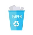 Blue Recycle Garbage Bin with Paper vector image vector image