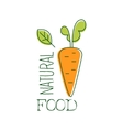Fresh Vegan Food Promotional Sign With Raw Carrot vector image vector image