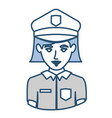 blue silhouette with half body of policewoman vector image