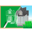 green blackboard with architectural project vector image