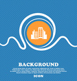 Buildings icon sign Blue and white abstract vector image