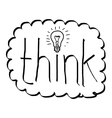 hand drawn doodles of the word think with bulb vector image