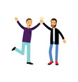 happy male best friends give five to each other vector image