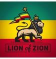 Judah lion with a rastafari flag King of Zion vector image