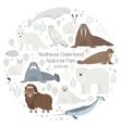 Polar animals circle animal set Polar vector image