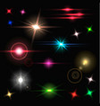 realistic colorful bright lens flares beams and vector image