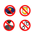 Stop cop set icon It is forbidden by police vector image