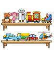 Many toys on the shelves vector image