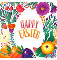 happy easter greeting card festive floral and vector image