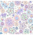 Seamless floral cartoon pattern with butterflies vector image
