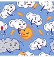 pattern of clouds cartoon emoji vector image
