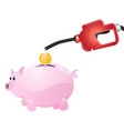 pump money to piggy vector image vector image
