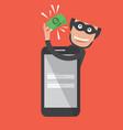 hacker breaks into smartphone data theft vector image