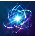 shining neon lights atom model vector image