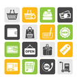 Silhouette shopping and retail icons vector image vector image