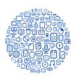 Abstract speech cloud of different web icons vector image vector image