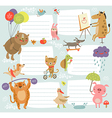 Background with cute characters vector image