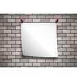 Background with note paper on a brick wall vector image