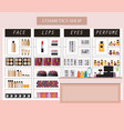 cosmetics store interior with products on shelves vector image